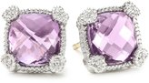 Judith Ripka Linen Sterling Silver, Cushion-Cut Amethyst, and White Sapphire Stud Earrings