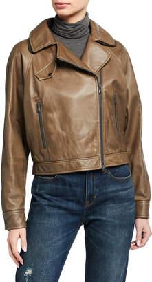 Brunello Cucinelli Leather Monili-Trim Moto Jacket