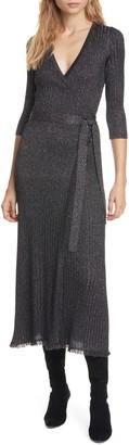 Diane von Furstenberg Bobbi Metallic Detail Ribbed Wool Blend Wrap Dress
