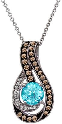 LeVian Le Vian 14K 1.08 Ct. Tw. Diamond & Blue Topaz Pendant Necklace