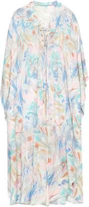 Melissa Odabash Printed Lace-up Chiffon Kaftan