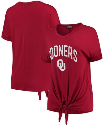 Women's Crimson Oklahoma Sooners On A Break V-Neck Knot T-Shirt