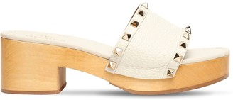 Valentino 60mm Rockstud Leather Clogs