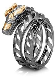 John Hardy Sterling Silver & 18K Yellow Gold Legends Naga Black Spinel & Blue Sapphire Dragon Ring