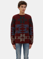 Valentino Men's Patterned Cashmere Knit Sweater In Burgundy