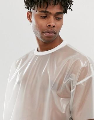 clear Asos Design ASOS DESIGN oversized t-shirt in transparent fabric-White
