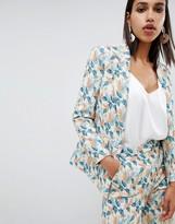 Asos Design DESIGN tailored jacquard wisteria floral blazer two-piece