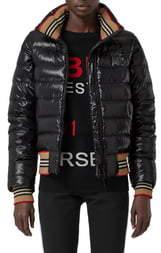 Burberry Hessle Detachable Sleeve Icon Stripe Down Puffer Jacket