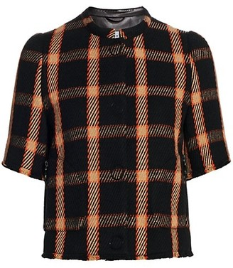 Akris Punto Short-Sleeve Plaid Wool-Blend Jacket