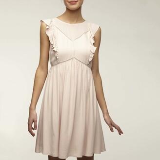 Naf Naf Ruffled Short Babydoll Dress with V-Back