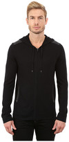 John Varvatos Zip Front Hoodie Sweater with Tonal Rivet Patches Y1189R3B