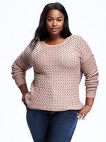 Old Navy Hi-Lo Plus-Size Honeycomb-Knit Pullover