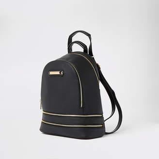 River Island Black textured zip bottom backpack
