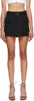 Balmain Black Logo Belted Miniskirt
