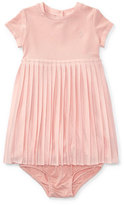 Ralph Lauren Stretch Jersey Accordion-Pleat Dress w/ Bloomers, Size 9-24 Months