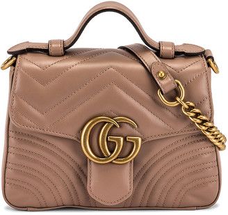 Gucci GG Marmont 2.0 Top Handle Bag in Nude | FWRD