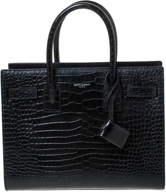 Saint Laurent Paris Saint Laurent Black Croc Embossed Leather Baby Classic Sac De Jour Tote