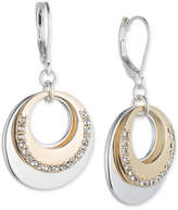 Nine West Two-Tone Pavé Circle Layered Drop Earrings