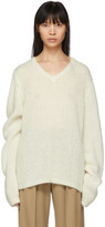 Maison Margiela Off-White Mohair Gauge 3 V-Neck Sweater