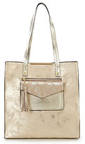 Kate Landry Posh Tasseled Metallic Snake-Print Pocket Tote