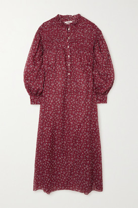 Etoile Isabel Marant Perkins Shirred Floral-print Cotton-voile Midi Dress - FR36