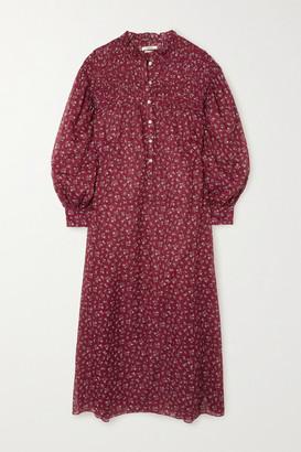 Etoile Isabel Marant Perkins Shirred Floral-print Cotton-voile Midi Dress - FR40