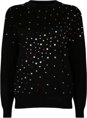 Wallis Black Glitter Detail Jumper