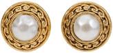 One Kings Lane Vintage Chanel Satin Gold Faux-Pearl Earrings - Vintage Lux