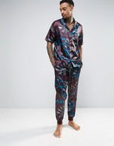 Asos Slim Satin Pajama Bottom With Paisley Print