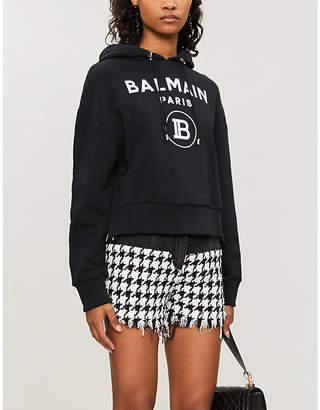 Balmain Brand-print loose-fit cotton-jersey hoody