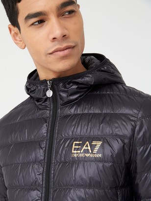 EA7 Emporio Armani Core ID Logo Padded Hooded Jacket - Black