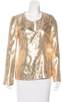 Tory Burch Metallic Long Sleeve Top