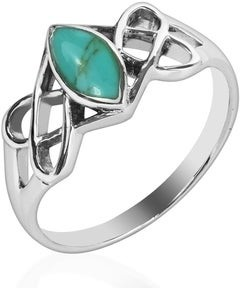 Aeravida Handmade Celtic Trinity Knot Marquise Sterling Silver Ring