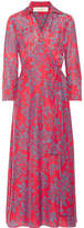 Diane von Furstenberg Printed Cotton And Silk-blend Wrap Dress - Red
