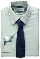 Nick Graham Everywhere Men's Green Stripe Dress Shirt and Tie Set