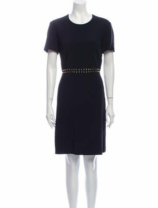 Burberry Crew Neck Knee-Length Dress Black
