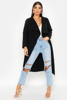 boohoo Francesca Belted Waterfall Coat