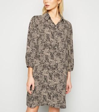 New Look Animal Print Puff Sleeve Shirt Dress