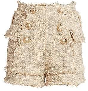 Balmain Women's High-Waist 6-Button Tweed Shorts