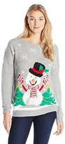 Notations Women's Snowman Pullover Ugly Christmas Sweater with 3D Scarf