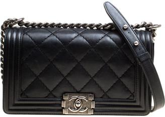 Chanel Black Quilted Leather Medium Wild Stitch Boy Flap Bag