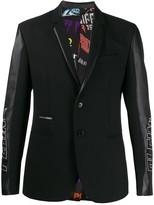 Philipp Plein Plein Star leather panel blazer