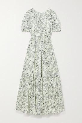 Apiece Apart Simone Tiered Floral-print Organic Cotton Midi Dress - Off-white
