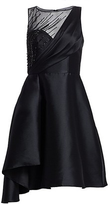 Theia Faille Fit--Flare Cocktail Dress