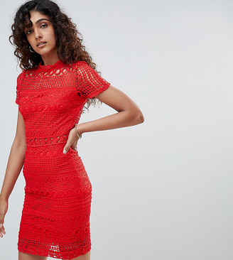 Parisian Tall High Neck Short Sleeve Lace Shift Dress