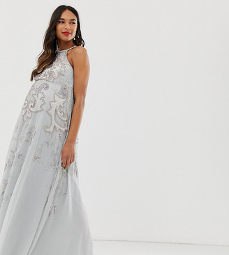 Asos DESIGN Maternity maxi dress with pinny bodice and embellished artwork-Grey