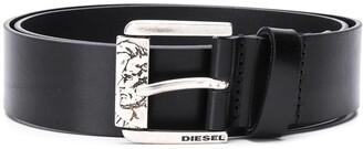 Diesel Sculpted Buckle Calf Leather Belt
