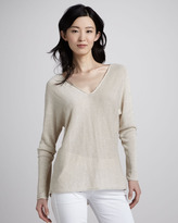 Vince Knit V-Neck Linen Sweater, Parchment