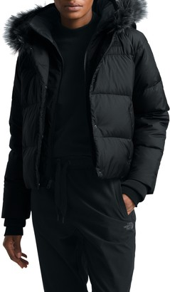 The North Face Deallo Quilted Faux Fur Trim Crop Jacket