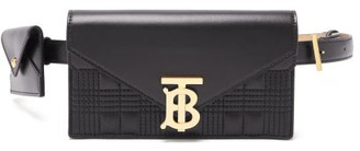 Burberry Tb-logo Quilted Leather Belt Bag - Black